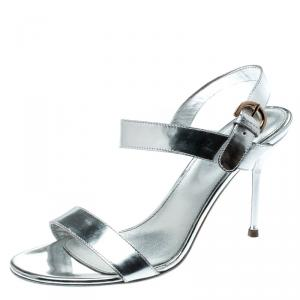 Sergio Rossi Metallic Silver Open Toe Ankle Strap Sandals Size 37 - used