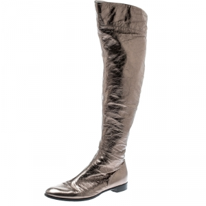 Sergio Rossi Metallic Grey Leather Knee Length Boots Size 39 - used