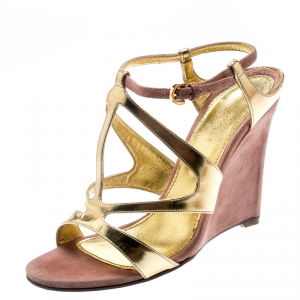 Sergio Rossi Metallic Gold Leather And Beige Suede Cut Out Ankle Strap Wedge Sandals Size 37 - used