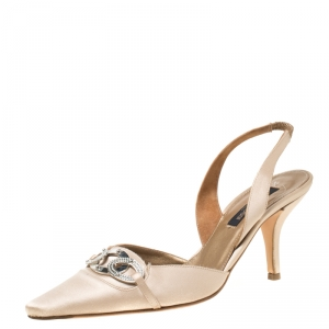 Sergio Rossi Beige Satin Crystal Embellished Pointed Toe Slingback Sandals Size 37.5 - used