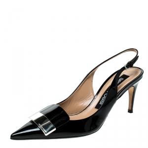 Sergio Rossi Black Patent Leather Scarpe Donna Slingback Platform Pumps Size 38