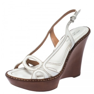 Sergio Rossi White Leather Slingback Wedge Sandals Size 37 - used