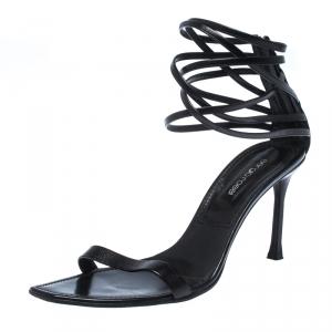 Sergio Rossi Black Leather Square Toe Strappy Sandals Size 41