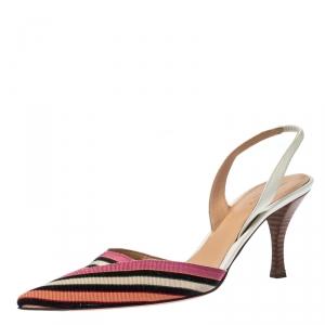 Sergio Rossi Multicolor Striped Canvas Slingback Pointed Toe Sandals 41