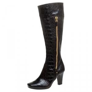 Sergio Rossi Dark Brown Crocodile Double Zip Knee High Boots Size 36.5