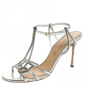 Sergio Rossi Metallic Silver Strappy Sandals Size 40 - used