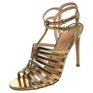 Sergio Rossi Gold Patent Leather Ines High Strappy Sandals Size 37.5 - used