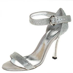 Sergio Rossi Grey Crystal Embellished Satin Open Toe Ankle Strap Sandals Size 36 - used