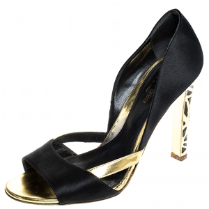 Sergio Rossi Black/Gold Satin Open Toe Sandals Size 38 - used