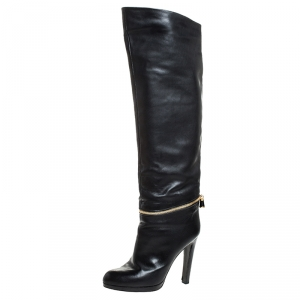 Sergio Rossi Black Leather Zip Detail Knee High Boots Size 39.5 - used