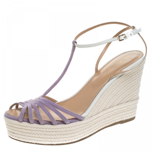 Sergio Rossi Lavender/White Suede and Leather T-Strap Wedge Sandals Size 39.5 - used