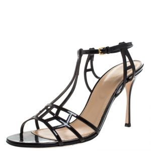 Sergio Rossi Black Strappy Leather Cubic Ankle Strap Sandals Size 40 - used