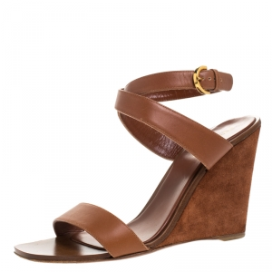 Sergio Rossi Brown Leather Open Toe Wedge Ankle Strap Sandals Size 39.5 - used
