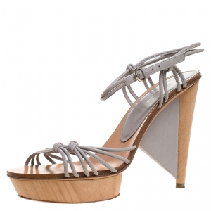Sergio Rossi Grey Strappy Leather Wooden Platform Ankle Strap Sandals Size 39.5 - used