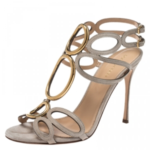 Sergio Rossi Grey Suede Circular Metal And Cut Out Detail Farrah Open Toe Sandals Size 39.5