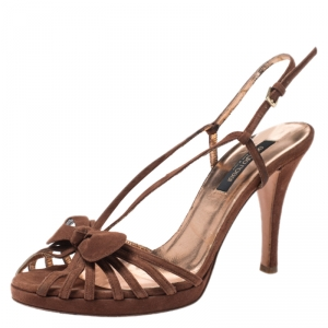 Sergio Rossi Brown Suede Strappy Bow Sandals Size 38 - used
