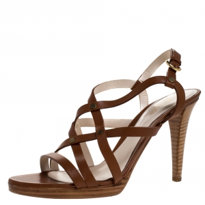 Sergio Rossi Brown Strappy Leather Open Toe Ankle Strap Sandals Size 39.5 - used