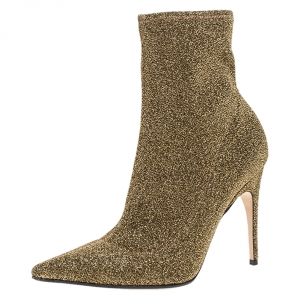 Sergio Rossi Metallic Knit Fabric Pointed Toe Ankle Boots Size 38.5