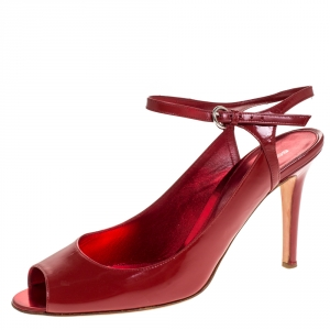Sergio Rossi Red Leather Peep Toe Slingback Sandals Size 40