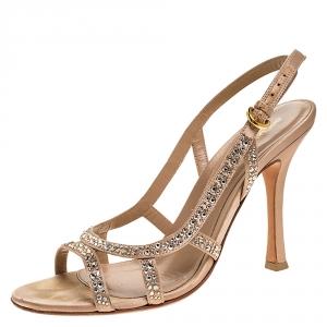 Sergio Rossi Beige Satin Crystal Embellished Slingback Sandals Size 38.5 - used
