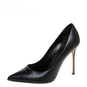 Sergio Rossi Black Leather Pointed Toe Pumps Size 39.5