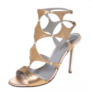 Sergio Rossi Metallic Gold Leather Ankle Strap Sandals Size 37 - used