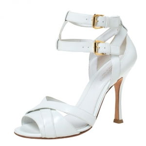 Sergio Rossi White Leather Double Ankle Strap Cross Strap Open Toe Sandals Size 37.5 - used