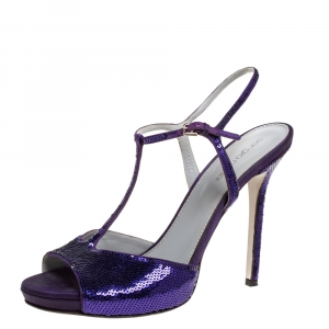 Sergio Rossi Purple Sequin and Satin T-Strap Ankle Sandals Size 38