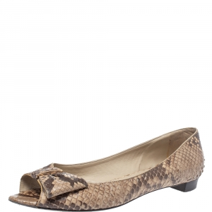 Sergio Rossi Python Leather Open Toe Ballet Flats Size 40