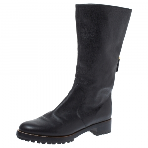 Sergio Rossi Black Leather Mid Length Boots Size 40.5