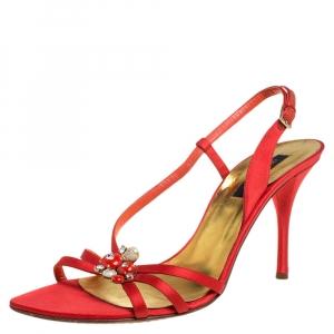 Sergio Rossi Burnt Orange/Gold Satin Strappy Embellished Slingback Sandals Size 41