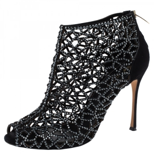Sergio Rossi Black Crystal Embellished Suede Cutout Peep Toe Ankle Boots Size 37.5 - used