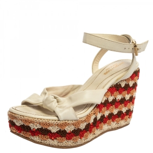 Sergio Rossi White Leather And Fabric Platform Wedge Knotted Ankle Strap Sandals Size 35.5