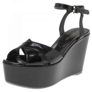 Sergio Rossi Black Criss Cross Patent Leather Ankle Strap Wedge Sandals Size 36