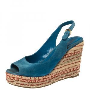Sergio Rossi Blue Suede Wedge Platform Sandals Size 38