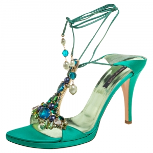 Sergio Rossi Green Satin Crystal Embellished Open Toe Tie Up Sandals Size 41
