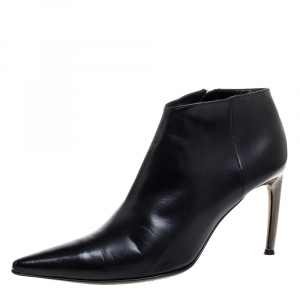 Sergio Rossi Black Leather Pointed Toe Ankle Booties Size 39.5