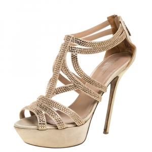 Sergio Rossi Beige Satin Crystal Embellished Strappy Platform Sandals Size 39