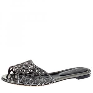 Sergio Rossi Grey Laser Cut Crystal Embellished Leather Slide Flat Sandals Size 38.5