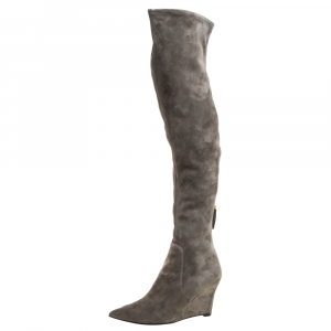 Sergio Rossi Grey Suede Over The Knee Wedge Boots Size 37.5 - used