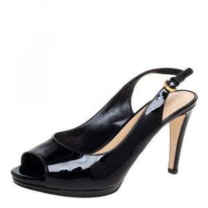 Sergio Rossi Black Patent Leather Peep Toe Slingback Sandals Size 37