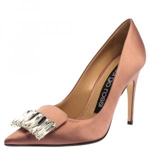 Sergio Rossi Pink Satin Crystal Embellished Pumps Size 36