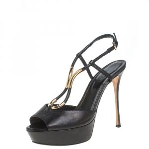 Sergio Rossi Black Leather Ankle Strap Platform Sandals Size 37