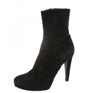 Sergio Rossi Black Suede Platform Ankle Boots Size 41 - used