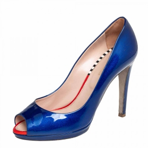 Sergio Rossi Blue Patent Leather Peep Toe Pumps Size 36