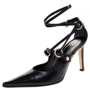 Sergio Rossi Black Leather Strappy Sandals Size 38