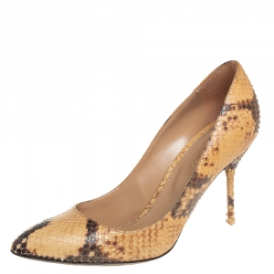 Sergio Rossi Beige/Brown Python Leather  Pumps Size 37