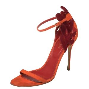 Sergio Rossi Orange/Maroon Suede Matisse Ankle Strap Sandals Size 39 - used