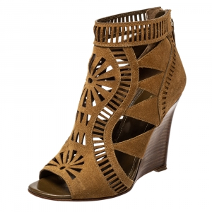 Sergio Rossi Brown Laser Cut Suede Open Toe Booties Size 36 - used