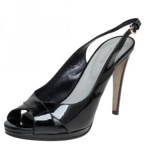 Sergio Rossi Black Patent Leather Slingback Platform Sandals Size 38 - used